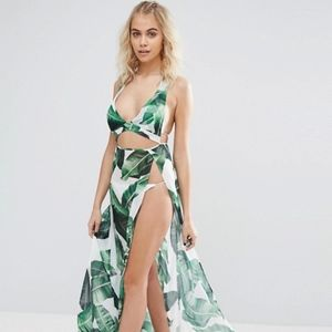 Other - NWOT Sheer Palm Leaf Maxi Swimsuit Cover up Dress